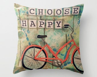 CHOOSE HAPPY, Mixed Media Art, Beach Bike, Beach Art, Art PILLOW, home decor pillow, Bike Art, mixed media, collage art, by Alicia J Hayes
