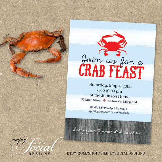 Crab Feast Party Invitation Maryland Blue By