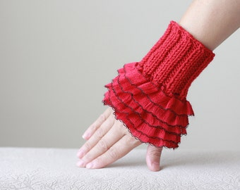 Red Ruffled gloves, Red knit wrist cuff, Women Red fingerless glove, Knitted women gloves, Red gloves, Red wrist warmers, Red wrist cuffs