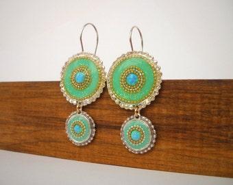 Green dangle earrings Opal earrings sister gift, Sterling silver earrings Double circle earrings Green earrings inlaid with Opals mom gift