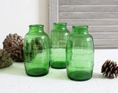 Three Emerald Green Barrel Shaped Bottles, Collectible Bottles