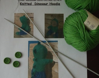Pattern ~ Under Rainbows Knitted Dinosaur Hoodie