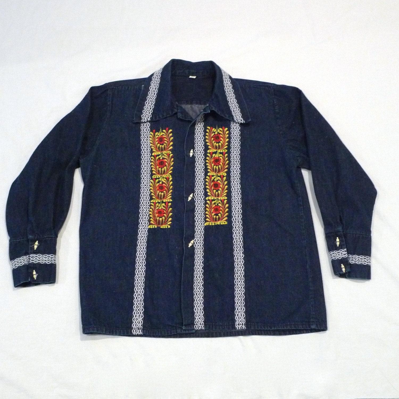 Denim embroidered shirt vintage jeans jacket floral