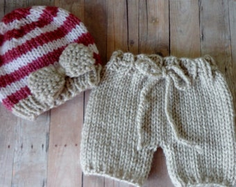 Newborn, Baby, Beanie, Pants, Diapercover, Hat, Handknit, Knit, Short Pants, Photo Prop, Bow