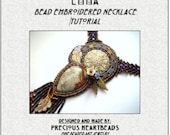 Bead Embroidery Necklace Tutorial PDF Swarovski Purple Violet Bead Embroidered
