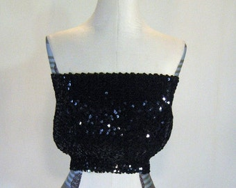 Sparkly Black Sequin Tube Top Glam