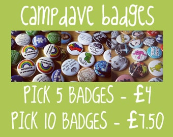 Pick any 5 or 10 Button badges 25mm / 1 inch - Make your own sets!
