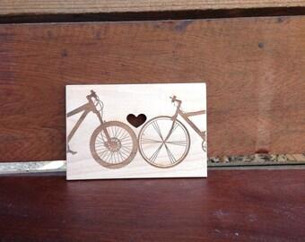 """Laser etched - Wooden Card """"Bike Love"""""""