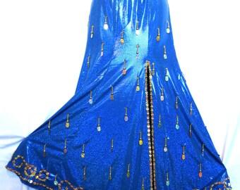 Blue Bellydance Mermaid Skirt and Wrist Cuff Set