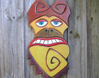 Funky Monkey, Original Wood Carving, Wood Sculpture, Wall Decor, Wall Art, by Fig Jam Studio