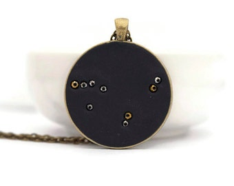 Capricorn necklace, capricorn jewelry, capricorn constellation necklace, zodiac jewelry, constellation necklace, polymer clay, brass pendant
