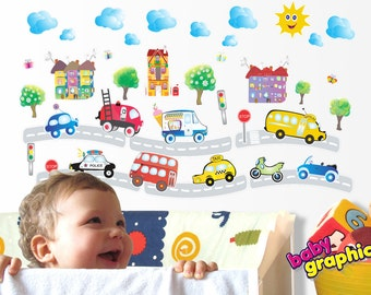 kids cars, fire truck, police car, ice cream van, bus, vehicles wall stickers set - repositionable (by babygraphics)
