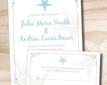 VINTAGE STARFISH Wedding Invitation and Response Card Invitation Suite
