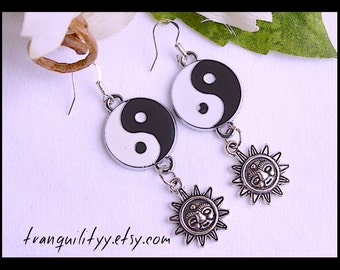 Yin Yang Earings ,Sun Earrings Zen Charm Dangle Earrings , Peaceful, Serenity , Handmade By: Tranquilityy