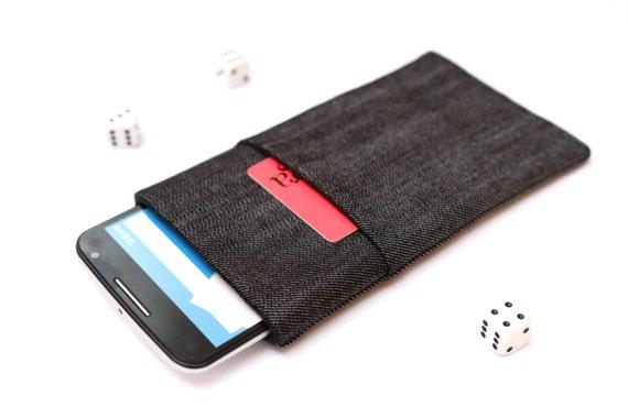 Nexus 6P,  6, Nexus 5X, 5, Nexus 4 sleeve pouch case handmade dark jeans and black with a pocket