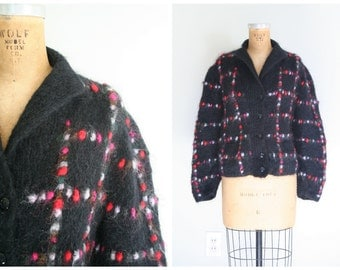 English mohair ladies cardigan sweater - black / Raspberry & Red - bobbles / handknit in Wales