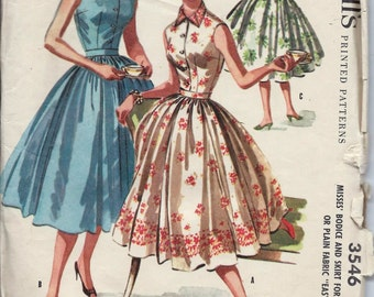 Vintage 50s McCall's 3546 Full Skirt 2-Pc Dress Sewing Pattern Size 12 Bust 30 Rockabilly