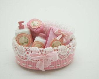 Miniature dollhouse KIT spa beauty basket