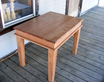 Solid Maple Small Dining Table Beautiful Handcrafted Legs Natural Finish