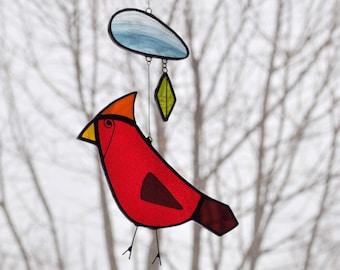 Stained Glass Cardinal Suncatcher,Bird suncatcher,Bird Mobile,Baby Mobile,Children mobile,kids room decor,Home decor - En Bleu et Verre -