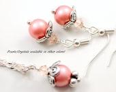 Pink Pearl Jewelry Set - Pink Pearl Earrings - Pink Pearl Necklace - Pink Bridesmaid Sets - Pink Pearl Jewelry - Pink Wedding Jewelry