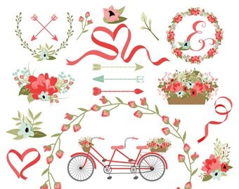 Wedding Clipart | Laurel Clipart | Wreath Clip Art | Bike Clip Art | Vintage Tandem Bike | Floral Bicycle Clip Art | Blog Graphics