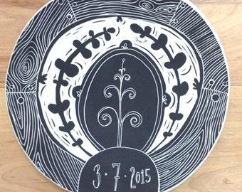 Medium Personalized Wedding Plates // Sgraffito, Hand Carved, Custom Ceramic Plate