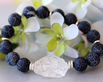Black Agate Bracelet, Beadwork Bracelet, Stretch Bracelet, Beaded, Rock Crystal Quartz, Birthday, Bridal Jewelry, Modern Trend, Wedding