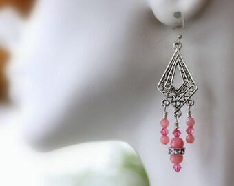 Pink Jade Earrings, Chandelier Earrings, Dangle Earrings, Drop Earrings, Gemstone Earring, Bridal Jewelry, Modern Trend, Mother's Day Gift