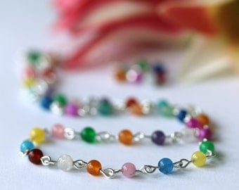 Rainbow Jade Necklace, Choker Necklace, Beaded Necklace, Minimalist Necklace, Strand Necklace, Gemstone Necklace, Bridal Jewelry, Wedding