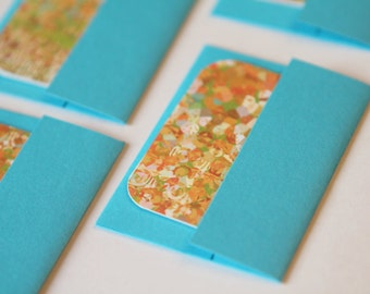 NEW Mini Cards n Envelopes - Set of 8 - Teal Aqua Blue with Impressionistic Design with Green,Brown, Peach
