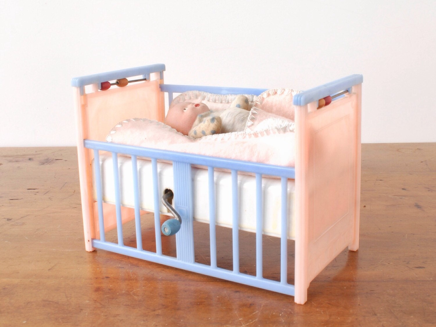 Vintage Mattel Creations Lullaby Doll Crib with original baby