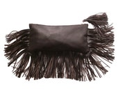 FRANGIA clutch, zippered clutch bag with fringe
