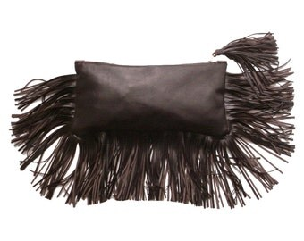 Zipper Clutch Bag Brown, Leather fringe bag, Zippered clutch bag , Leather clutch , Dark brown , Boho bag , FRANGIA clutch