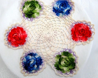 Vintage, Circle of Roses, Handmade Doily