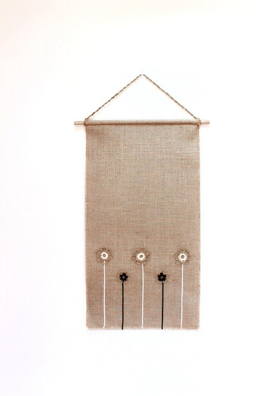 Burlap fabric wall hanging with flower design decorate - Cloth wall hanging designs ...