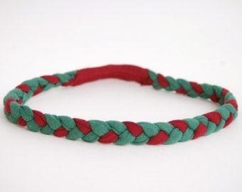 Holiday Headband - Green Red  - Eco Friendly Braided Headband - Organic Clothing