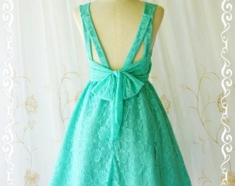 Mint green dress green lace dress green party dress green prom dress green cocktail dress bow back dress green bridesmaid dresses lace dress