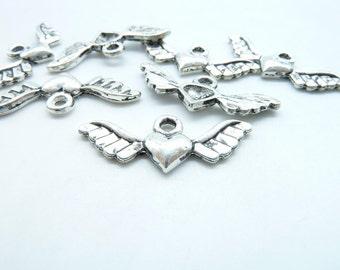 30pcs 11x27mm Antique Silver  Mini Heart Wing Charm Pendant c5585