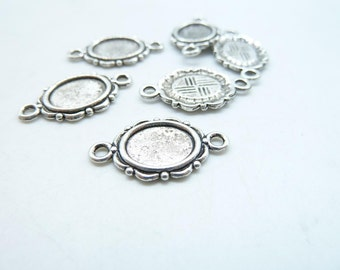 30pcs 8x10mm Antique Silver Oval Cameo Cabochon Base Setting Connector Link c7863