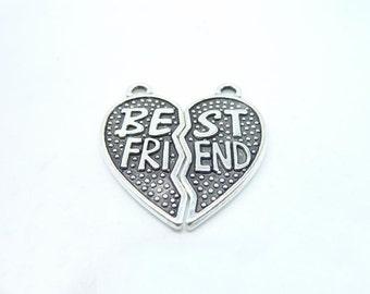 10sets (20pcs) of Antique Tibetan silver Best Friends Heart Charms pendants 26x28mm C8016