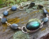 Madagascar Labradorite and sterling silver bracelet, labradorite jewelry, bohemian bracelet,  labradorescence, Madagascar labradorite