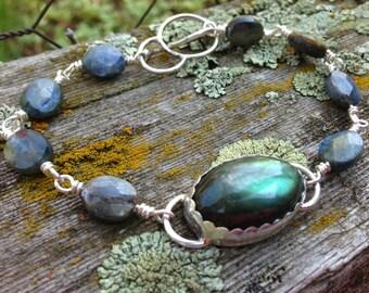 Madagascar Labradorite and sterling silver bracelet, labradorite jewelry, bohemian bracelet,  labradorescence, Madagascar labradorite