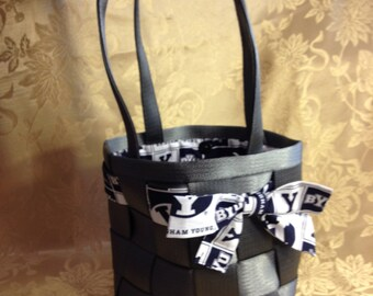 Seatbelt Purse- Small Gray/Charcoal with BYU design