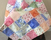 Baby Quilt Shabby Chic Floral Ellie Ann Floral Patchwork Blanket 30X30 Ready to Ship