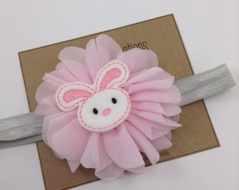 Pink Easter Headband Easter Bunny Headband Spring Headband Gray Ballerina Flower Headband Photo Prop