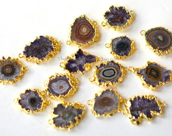 Amethyst Stalactite Slice Druzy Connector Edged in 24k Gold