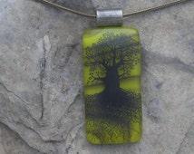 Earthy Green Tree of Life Necklace Fused Glass Oak Tree Pendant