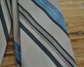 Vintage clothing mans tie - Blue and grey stripe - Retro - Costume