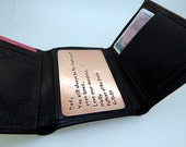 Customizable Wallet Insert Card - Copper Hand Stamped - 300 Character Max  - Great Anniversary Gift!! - Great  Gift!